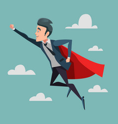 super businessman in red cape flying to success vector image