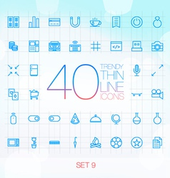 40 Trendy Thin Icons for web and mobile Set 9 vector image vector image