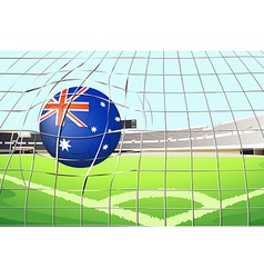 A ball with the flag of australia touching the net vector