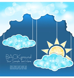 blue clouds and sun mobile vector image vector image