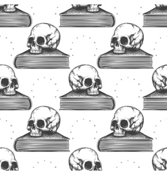 Book and human skull seamless pattern vector image