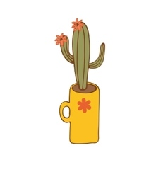 Cactus plant in a vase vector image vector image