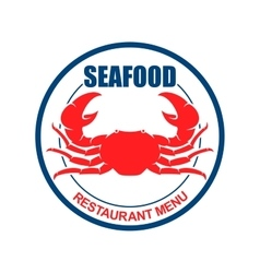 Crab on a plate retro icon for seafood menu design vector image