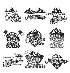 hiking mountain exploration emblems handwritten vector image vector image