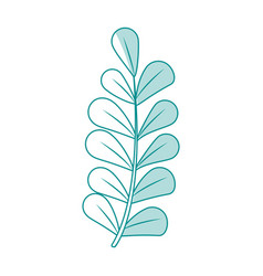 blue silhouette image spring branch with ovals vector image vector image