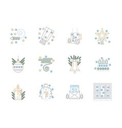 Flat color line Christmas icons set vector image