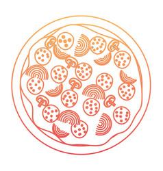 pizza icon in degraded orange to magenta color vector image