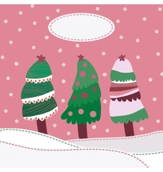 Snow landscape background with christmas trees vector image vector image