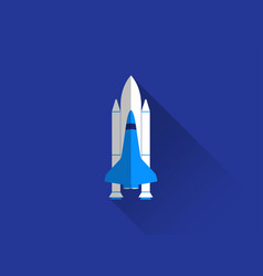 space shuttle in a flat style with a long shadow vector image vector image