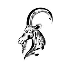 tribal goat head tattoo vector image