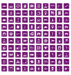 100 loader icons set grunge purple vector image