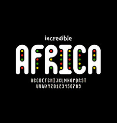 African style font design alphabet letters vector