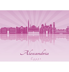 Alexandria skyline in purple radiant orchid vector image