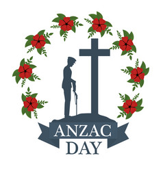 Anzac day poster with soldier standing guard vector