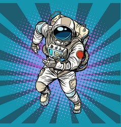 Astronaut runs the hero of space vector