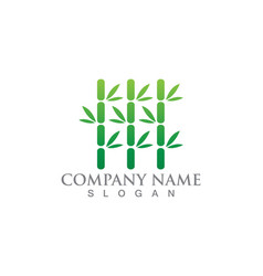 Bamboo with green leaf for your logo icon template vector