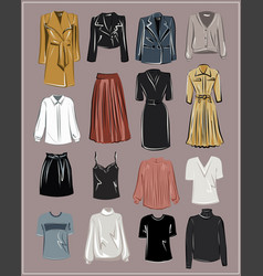 basic wardrobe a minimalist autumn clothes vector image