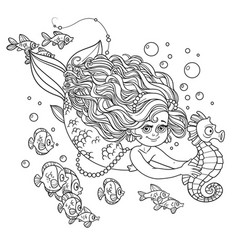 beautiful little mermaid girl swimming with sea vector image