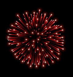 Beautiful red firework bright salute isolated on vector