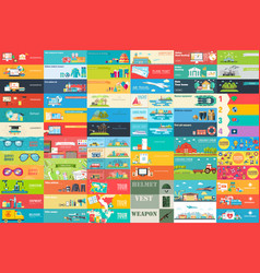 Big collection of banners in flat style in set vector