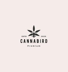 bird cannabis logo hipster vintage retro icon vector image