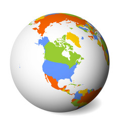 blank political map of north america earth globe vector image