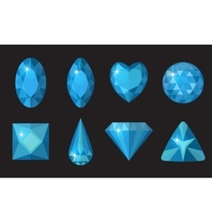 Blue gems set Jewelry crystals collection vector image