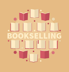bookselling circular flat vector image