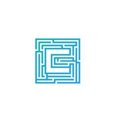 c maze letter logo icon design vector image