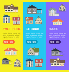 cartoon houses exterior banner vecrtical set vector image