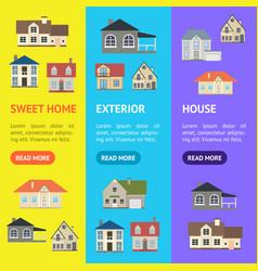 cartoon houses exterior banner vecrtical set vector image