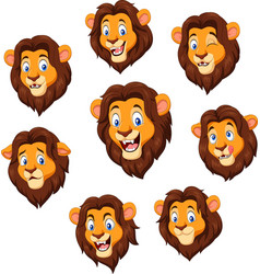 cartoon lion head with various expression vector image