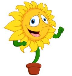 Cartoon smile sunflower vector image