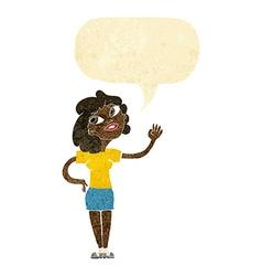 Cartoon woman waving with speech bubble vector