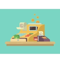 Cash register in flat style vector image