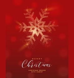 christmas gold glitter snowflake greeting card vector image