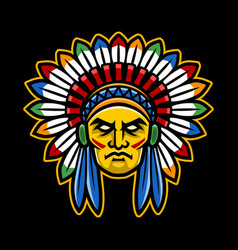 Colorful american indian chief head vector