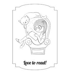 coloring girl reading in an arm-chair vector image