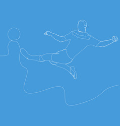 continuous line football player kicks ball soccer vector image