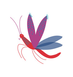 cute colorful flying mosquito insect vector image