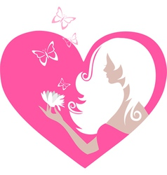 Cute girl with butterflies and a flower in a heart vector image