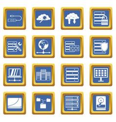 Database icons set blue vector