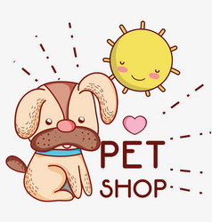 Dog on sunny day cute cartoons vector