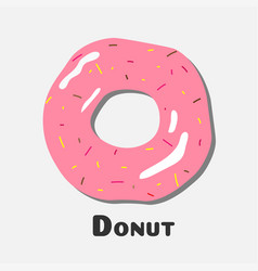 donut with pink icing donut icon vector image