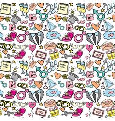 doodle wedding seamless pattern vector image