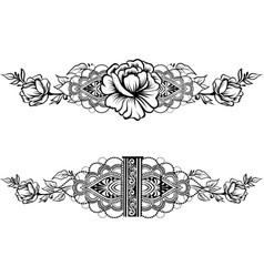 drawing of ethnic indian line art border vector image