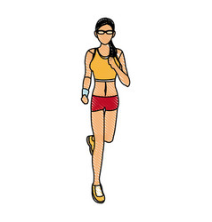 Drawing woman training run with wearable vector