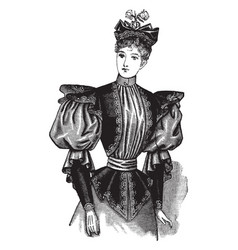 Dress has a vest like top vintage engraving vector