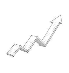 Financial rising arrow hand drawn sketch vector