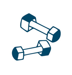 Fitness dumbbell icon in doodle style isolated on vector